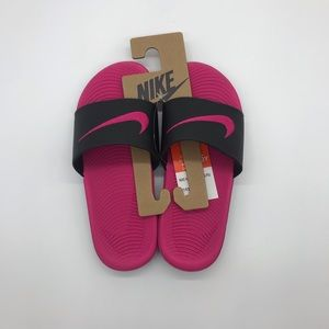Nike Youth Girl's Pink/Black Kawa Slides